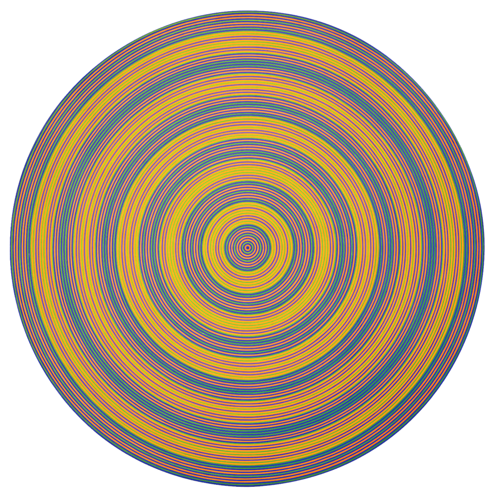 This abstract painting on a circular canvas is composed of concentric bands of equal width in different colours. The alternating blue, green and yellow rings create a target pattern.