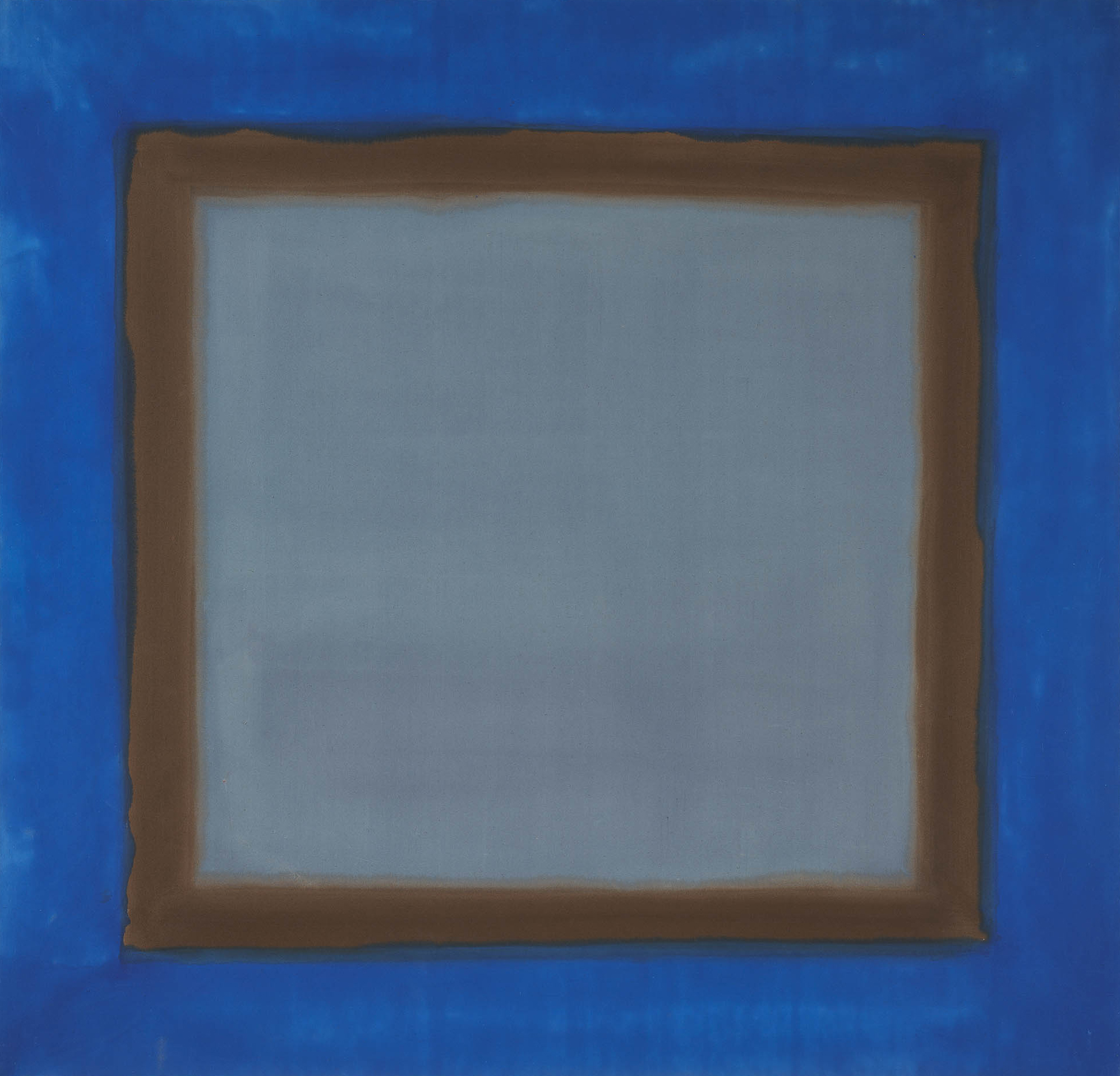 This abstract, almost monochrome painting consists of a large ultramarine square with a central blue-grey square bordered in grey-green. The lighter square, which covers most of the surface, opens a window in the canvas and creates an effect of perspective.