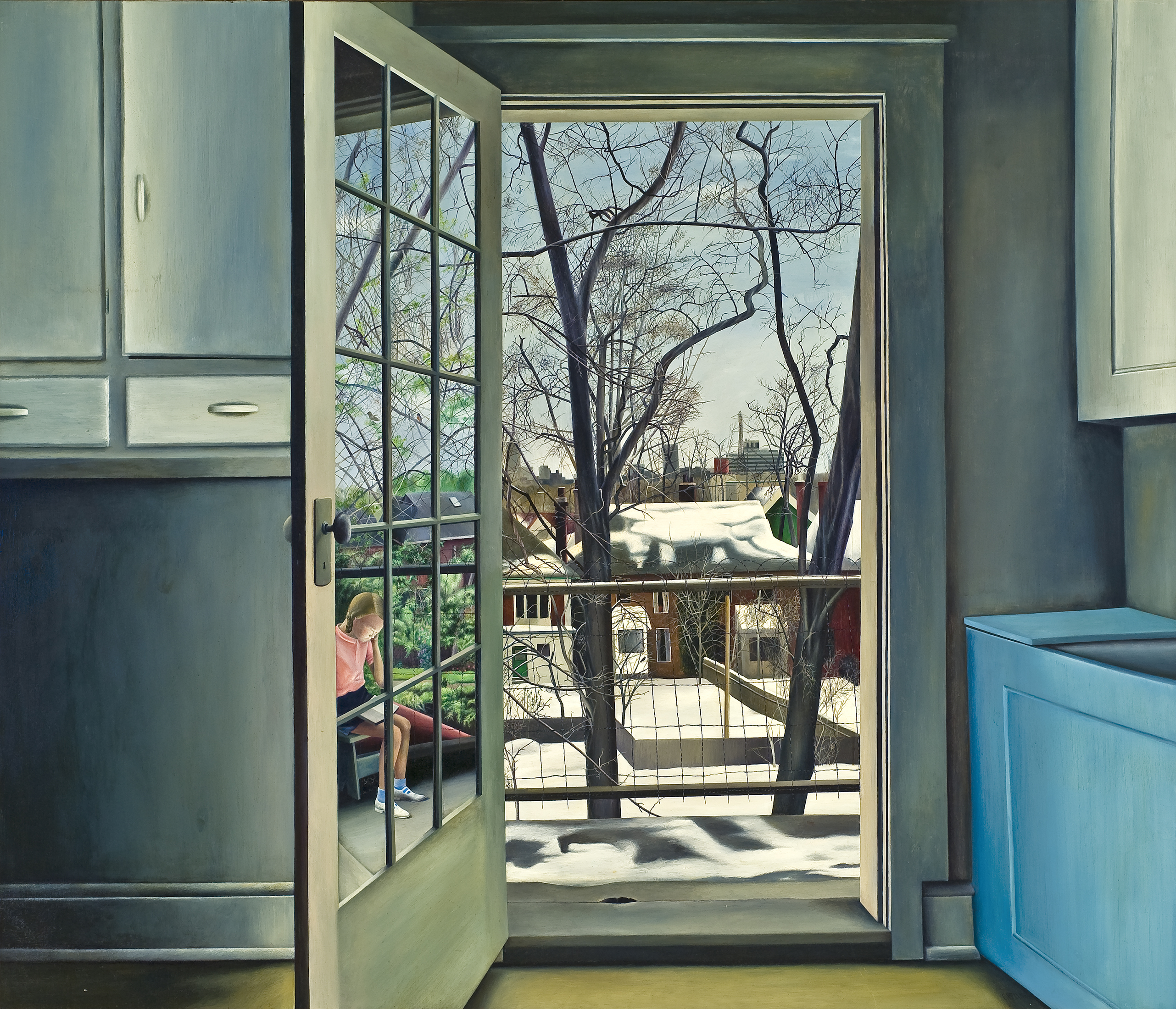 This view from inside a starkly bare kitchen shows an open doorway giving onto a balcony and a winter cityscape. However, the reflection in the glass door panes shows a springtime scene, where a little girl sits surrounded by greenery.