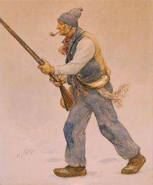 An old man with a pipe in his mouth is seen in profile, armed with a shotgun and striding toward the left of the composition. He is wearing a red scarf, a tuque and a traditional French-Canadian arrow-patterned sash.