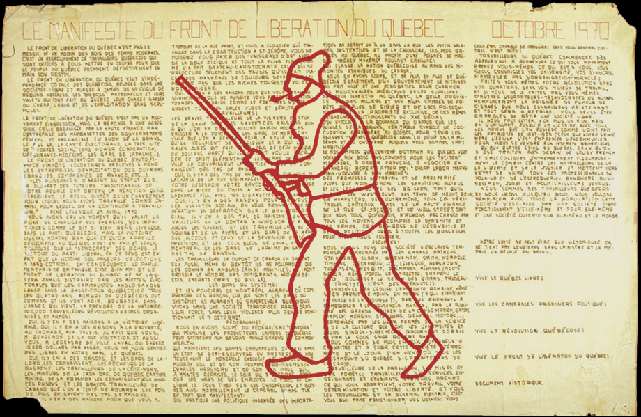 The silhouette of an old man armed with a shotgun is drawn in red ink in the centre of a yellowed poster.