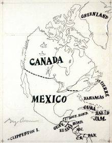 This hand-drawn map represents North and Central America, but without the United States. Mexico occupies all of North America up to a shared border with Canada. The country names are written in uppercase letters.