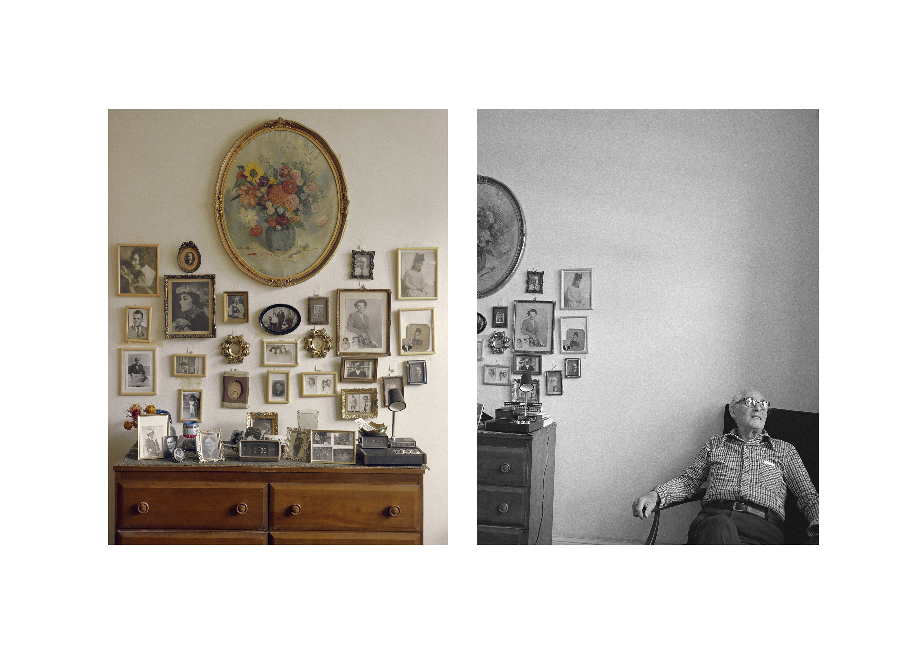 This work is composed of two photographs side by side. The colour picture on the left shows framed photos on a wall above a dresser. The black-and-white picture on the right shows a pensive man in an armchair, to the right of the dresser.