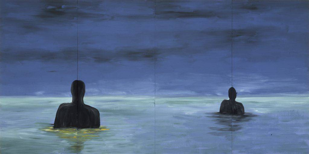 Four painted panels assembled side by side depict two black silhouettes chest-deep in water. In the distance, the dark blue sky meets the light blue water to form a low horizon line.