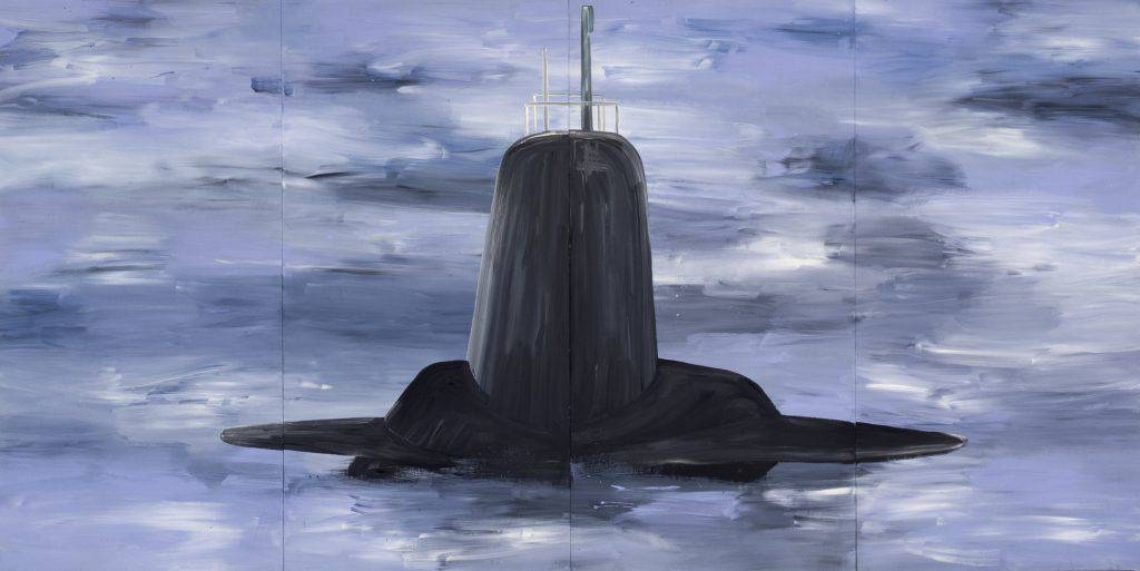 Four painted panels assembled side by side depict the conning tower of a submarine rising above the water's surface.