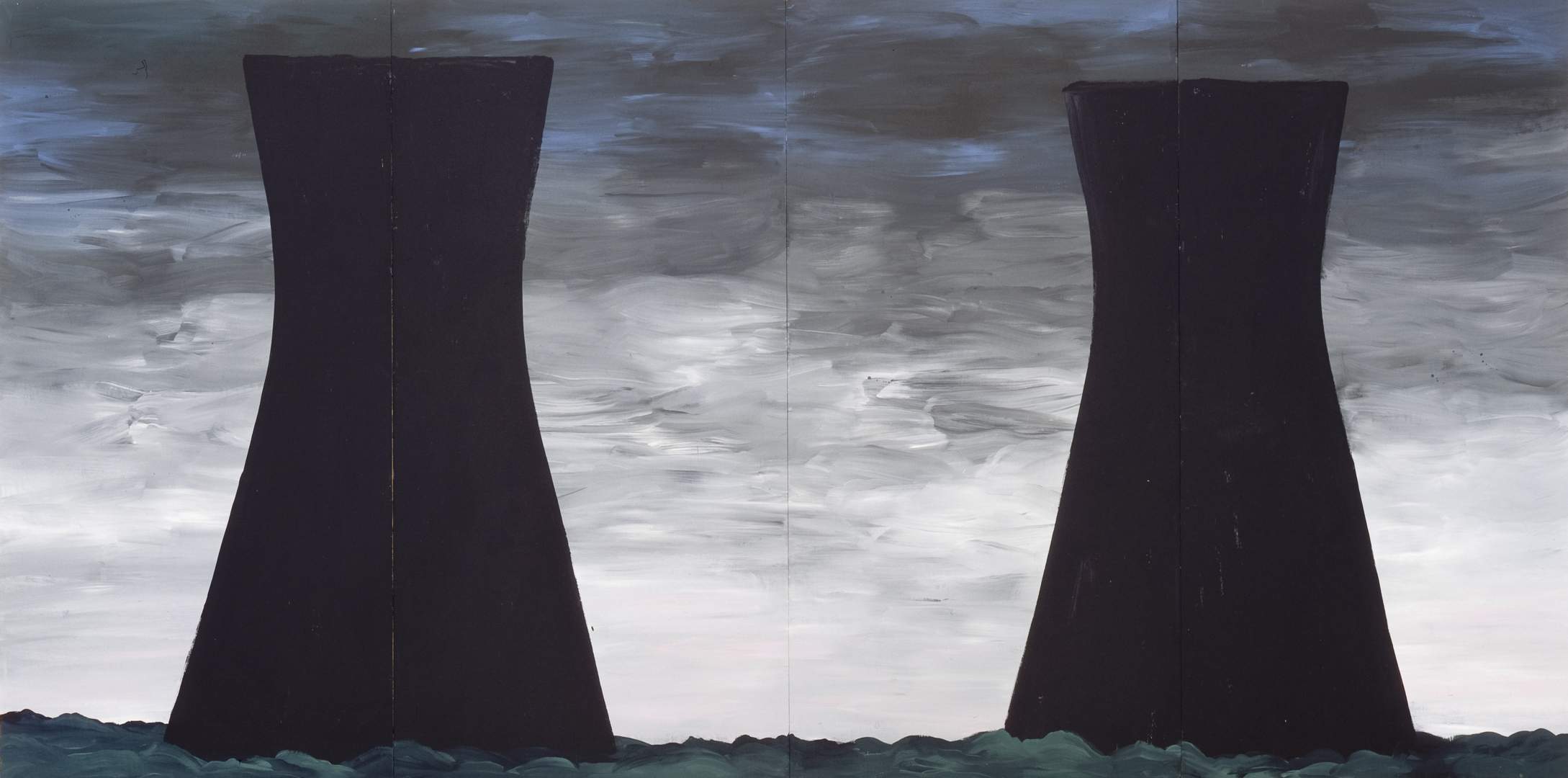 Four painted panels assembled side by side depict the cooling towers of a nuclear power plant. The two almost identical black masses stand out against a leaden sky. They loom above treetops that form a low horizon line.