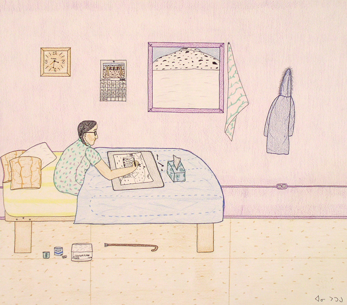 This drawing in pale colours shows a bedroom. A woman seen in profile is sitting in bed drawing the landscape she sees through the window. Various items hang on the wall and lie on the floor beside the bed.