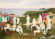 Red-coated British soldiers are guarding a group of naked people waiting amid crates and bags, as a smaller group is escorted to anchored ships. The background shows the ocean and ships at the left and a coastal landscape at the right.