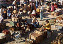 Under a blazing sun, men, women and children, most of them white, appear to be waiting. They are surrounded by suitcases and crates of personal items. The way they are dressed recalls the 1970s.