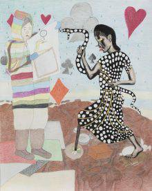 Two female figures stand face to face in a Northern landscape. The one on the left, wearing a colourful striped coat, shows a drawing to the other, who is wearing a black dress with white polka dots and holding a similarly patterned snake.