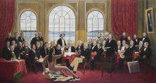 Three dozen men are gathered in a large room. Each one is portrayed in great detail. In front of them, a long-haired man wearing nothing but stiletto heels lounges on a Hudson's Bay blanket draped over a box. He is looking at the others, with one arm raised.