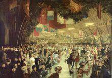 This painted photograph represents a crowd gathered on an immense skating rink. Garlands and flags of different countries hang from the ceiling. Several public figures well known at the time appear among the 150 costumed skaters photographed by Notman.