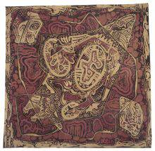 This photograph shows a square of cloth patterned in red and orange. The abstract motifs stand out through a tangle of twisting lines and shapes.