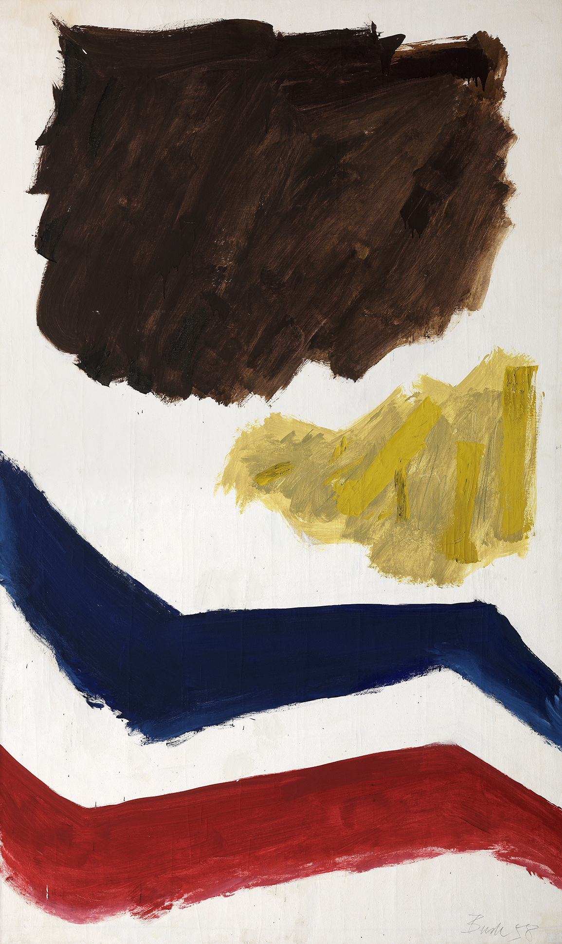 This painting presents four forms on a white background. A large brown mass and a smaller yellow one occupy the upper half of the canvas, while two bands, one blue and one red, zigzag across the lower half.