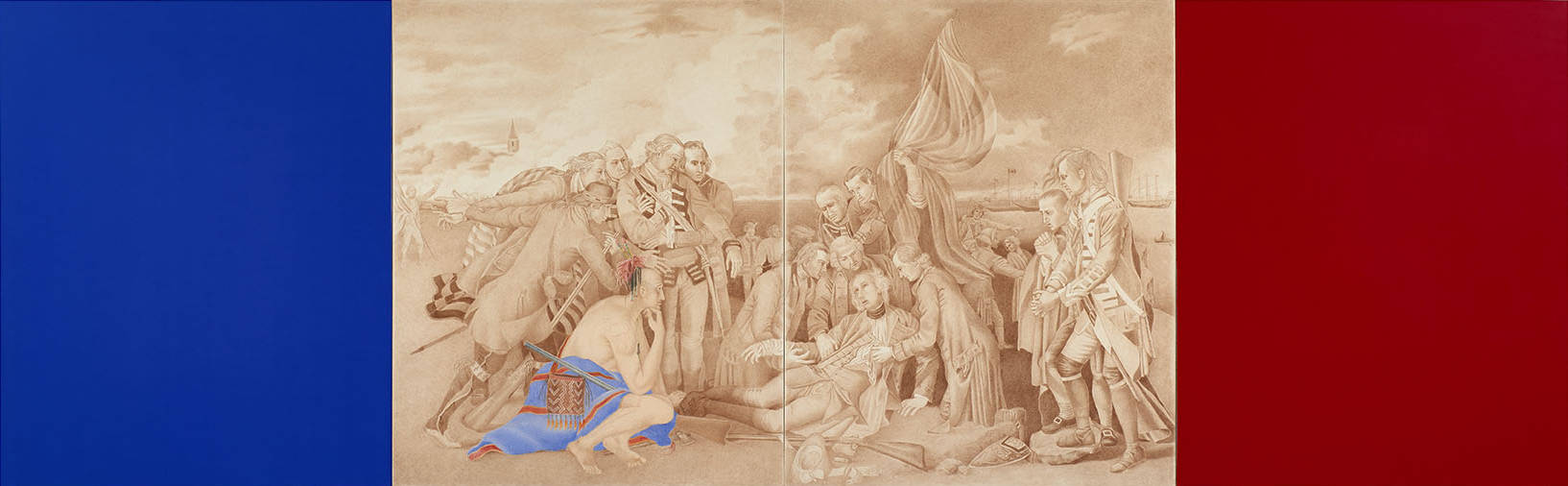 A sepia-toned drawing shows soldiers gathered around a wounded man on the ground. A half-naked Native brave with accoutrements tinged in red and blue is crouched at the man's feet. The drawing is flanked by rectangles, blue on the left and red on the right, like a tricolour flag.