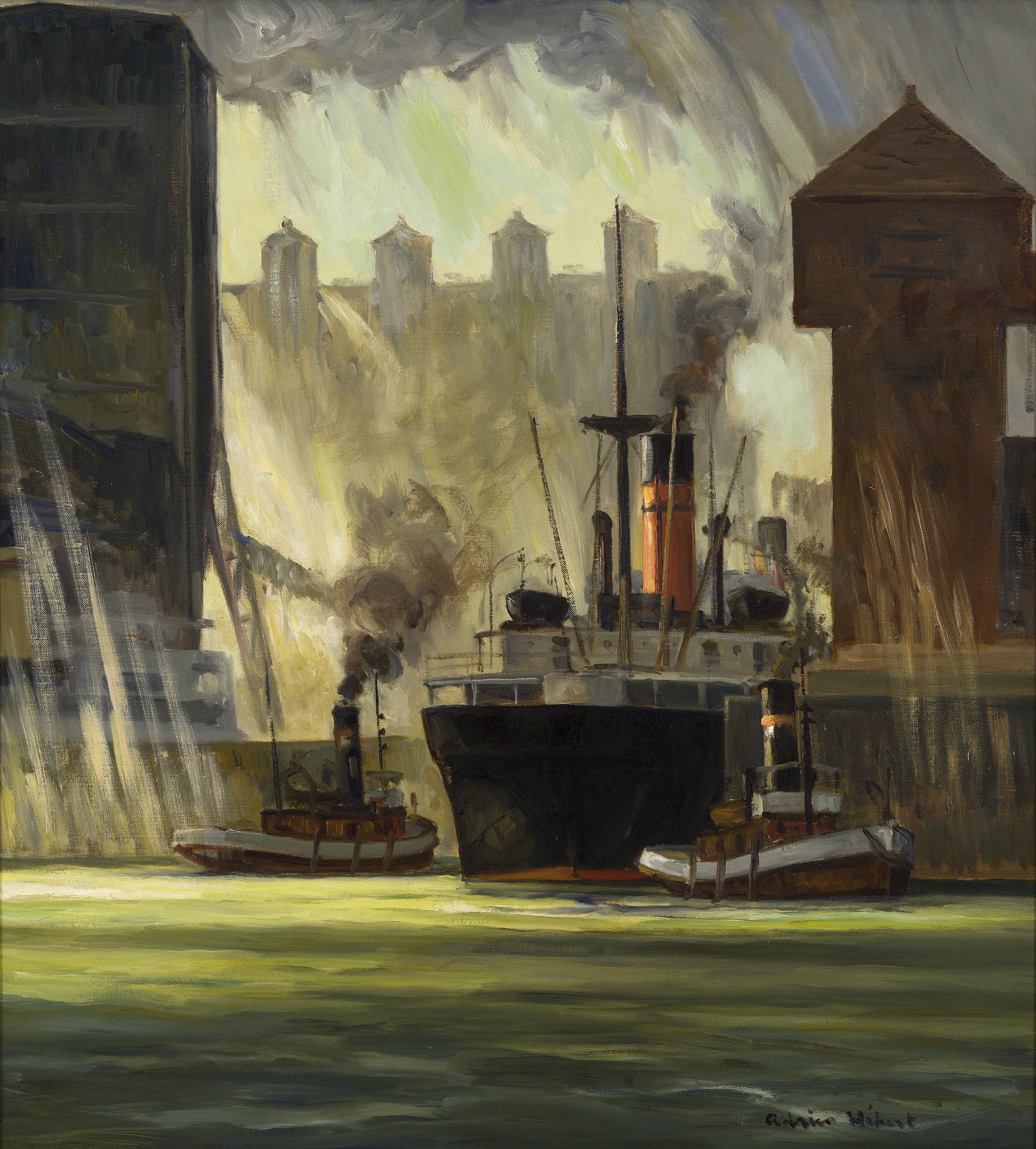 This painting depicts a large cargo ship alongside a dock. It is flanked by two tugboats. The sky is overcast, but rays of light piercing the clouds reflect in the harbour's greenish water.