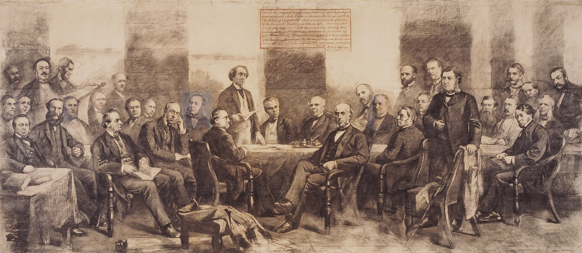 This drawing shows thirty-four men gathered in a large room, each depicted  in