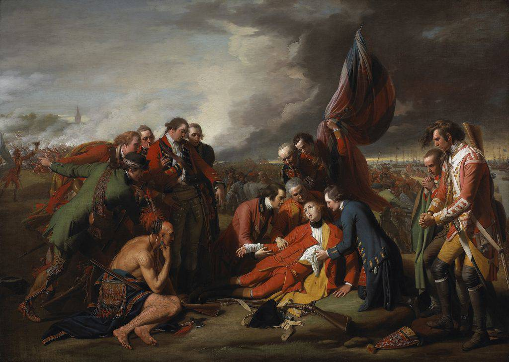 This painting shows a group of men around an officer in a red uniform lying on the ground, his eyes raised toward heaven. A flag is visible behind him, and a half-naked Native brave is crouched at his feet.