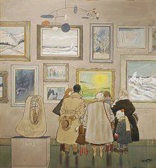 Bundled up in warm winter clothes, seven people, young and old, are clustered in front of a painting of a sunlit landscape. The rest of the wall is covered with winter landscapes. Two abstract sculptures are also on display.