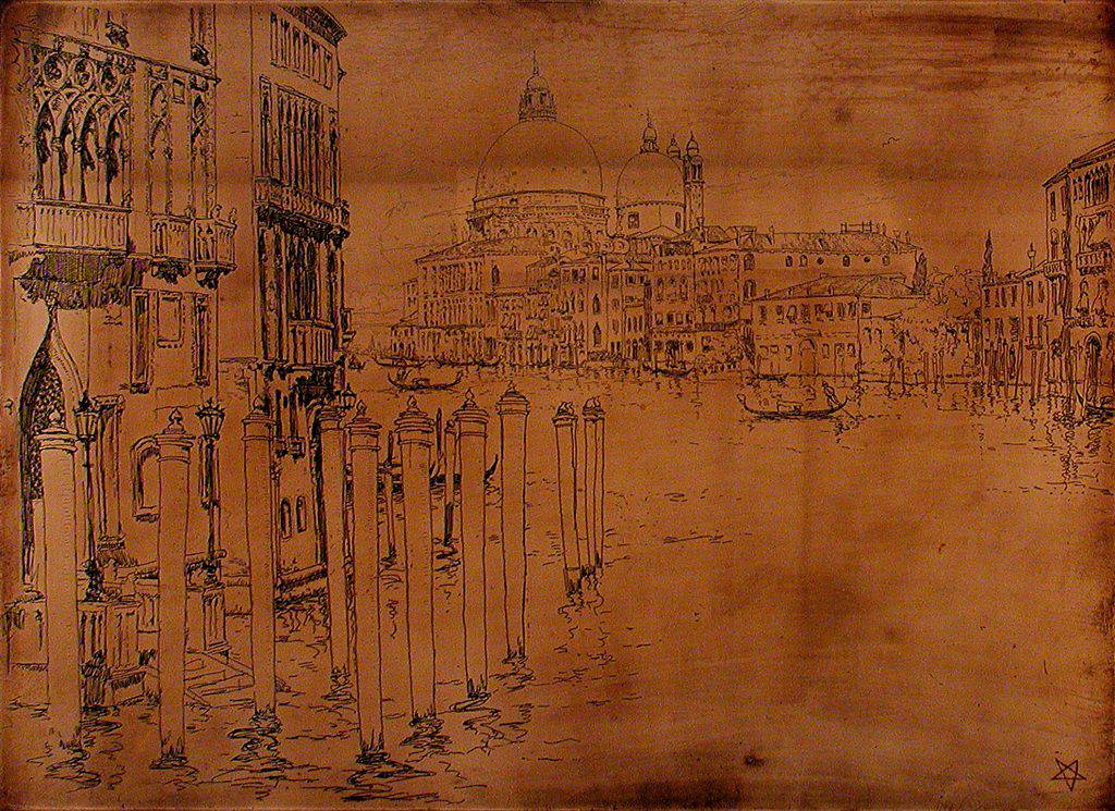 This copper plate presents a view of the Grand Canal in Venice bordered by Gothic and Baroque buildings. On the etched plate the view is drawn as the artist saw it, whereas in the print it appears in reverse.